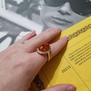 10K Yellow Gold Genuine Amber Diamond Ring
